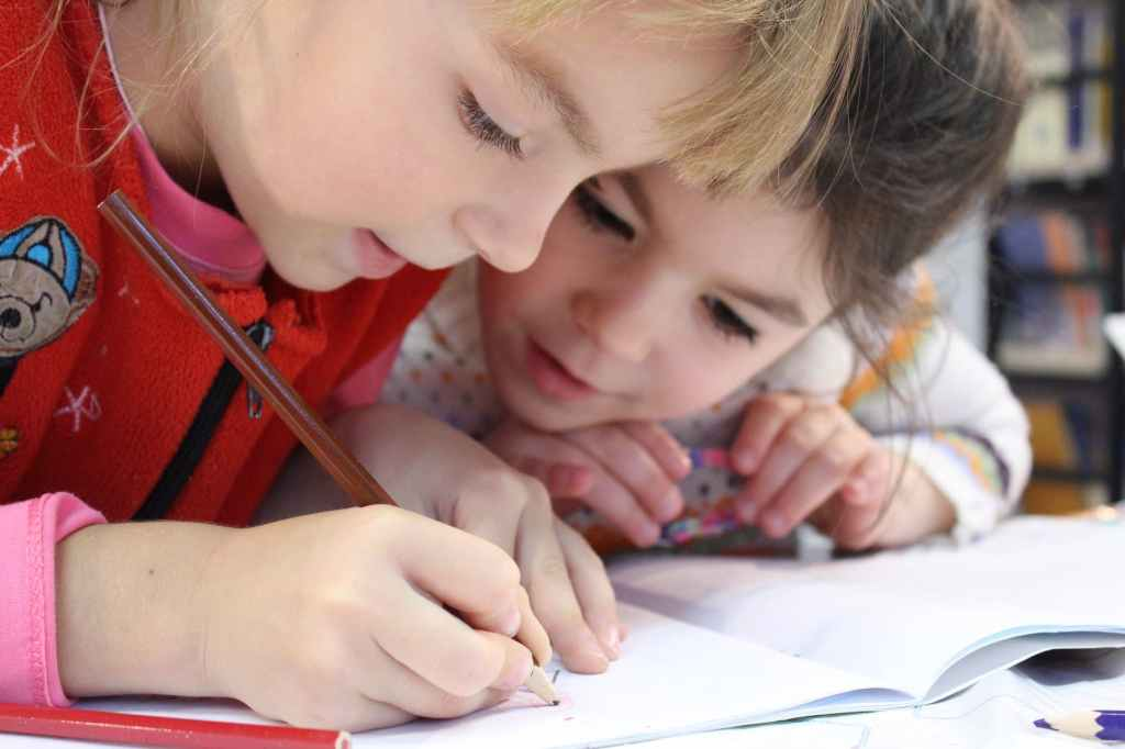 children learning in school