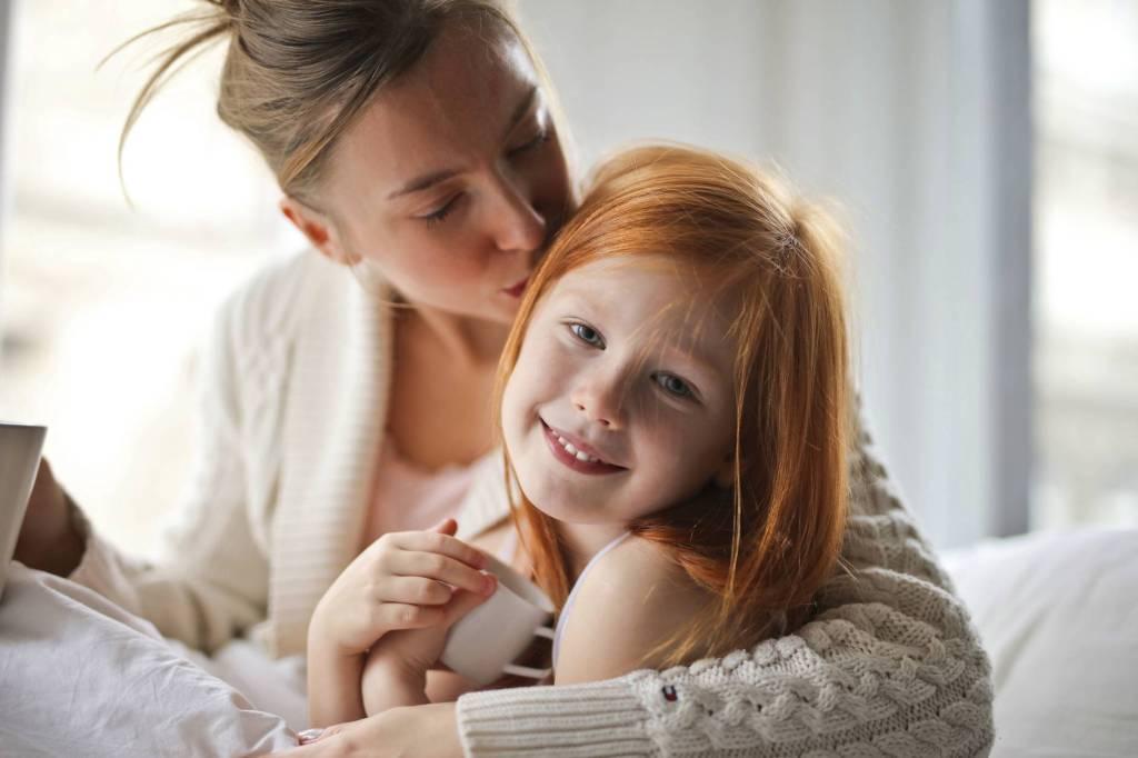 happy parent with patient child